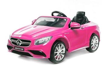 Lizenz Kinderauto Mercedes - Benz S63 AMG 2 x 35W 12V MP3 RC Elektroauto Kinderfahrzeug Ferngesteuert Elektro (Weiss) -