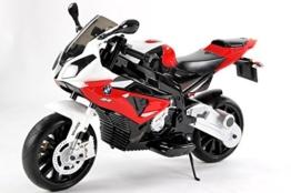 BMW S 1000 RR Original Lizensiert Motorrad für Kinder, EVA räder, Metallrahmen, Zündschlüssel, 2x Motor, 12 V Batterie, abnehmbare Hilfsräder -