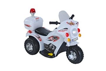 Elektro Kinder Motorrad Auto Polizeimotorrad Kinderauto Kids Roller mit Akku (weiß) -